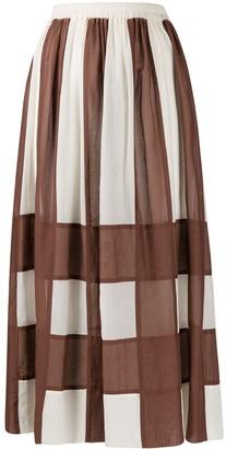 Alysi Check Patterned Elasticated Waist Skirt