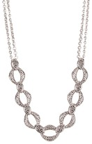 Lois Hill Sterling Silver Cutout & Granulated Link Frontal Necklace