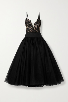 Monique Lhuillier Satin-trimmed Guipure Lace And Tulle Gown - Black