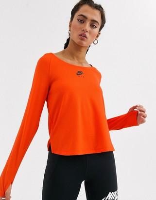 Nike Running Air Running long sleeve top in orange