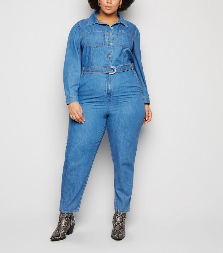 New Look Curves Belted Denim Jumpsuit