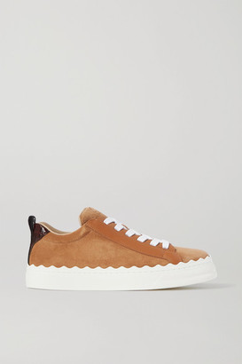Chloé Lauren Scalloped Leather-trimmed Suede Sneakers - Tan