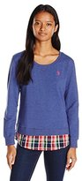 U.S. Polo Assn. Juniors Crew Neck 2-Fer Sweatshirt with Plaid Hem