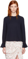 See by Chloe Navy Bell Sleeve Blouse