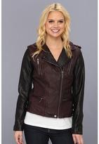 MICHAEL Michael Kors Color Block Leather Jacket M62012A (Black/Burgundy) - Apparel