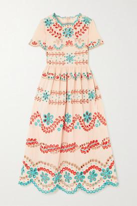 RED Valentino Broderie Anglaise Cotton Midi Dress - Blush