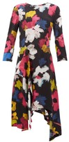 Colville - Handkerchief-hem Floral-print Satin Dress - Womens - Multi