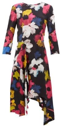 Colville - Handkerchief-hem Floral-print Satin Dress - Multi