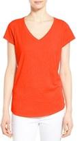Eileen Fisher Organic Cotton V-Neck Short Sleeve Tee (Regular & Petite)