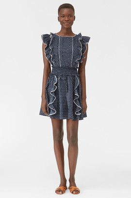 Rebecca Taylor La Vie Ikat Leaf Ruffle Dress