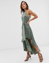 Forever U Collection halter neck tie waist dress in khaki