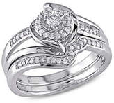 Concerto 0.25 TCW Diamond Halo Twist Split Shank Bridal Ring Set in Sterling Silver