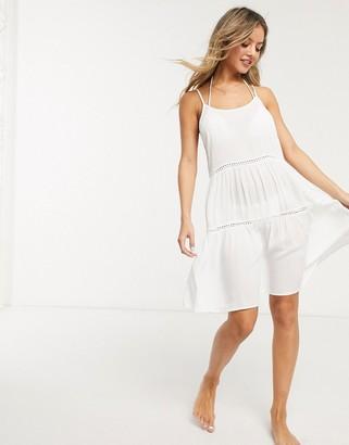 New Look crochet swing beach dress in white