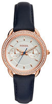 Fossil Multifunction Tailor Rose Goldtone Leather Strap Watch
