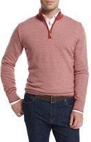 Peter Millar Contrast-Collar Quarter-Zip Sweater, Summer Coral