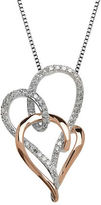 Lord & Taylor Diamond, Sterling Silver and 14K Rose Gold Hearts Pendant Necklace