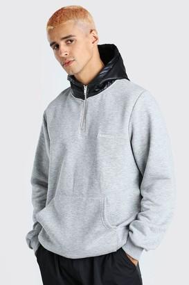 boohoo Mens Grey Hoodie With Puffer Zip Hood and Drawcord Hem, Grey