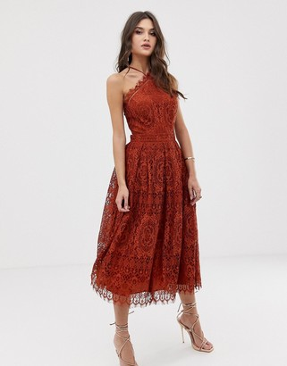 Asos Design DESIGN lace midi dress with pinny bodice-Brown