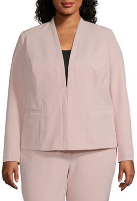Liz Claiborne Long Sleeve Collarless Blazer - Plus