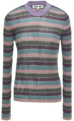 McQ Metallic Striped Ribbed-knit Top