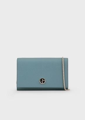 Giorgio Armani Chevron Print Leather Mini Bag With Enamel Logo