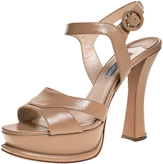 Prada Beige Patent Leather Platform Ankle Strap Sandals Size 38.5