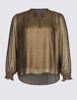 Marks and Spencer PLUS Metallic Notch Neck Long Sleeve Blouse