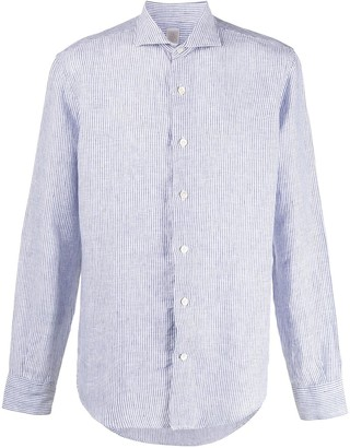 Eleventy Striped Cutaway-Collar Shirt