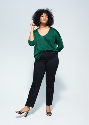 MANGO Violeta BY Ribbed knit sweater green - S - Plus sizes