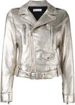 RED Valentino metallic biker jacket - women - Cotton/Lamb Skin - 42