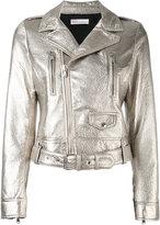 RED Valentino metallic biker jacket - women - Cotton/Lamb Skin - 44