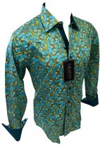 Men's Calvetti Paisley Woven Long Sleeve Button Down Dress Shirt 303 (XL)