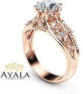 Etsy 14K Rose Gold Engagement Ring Unique Engagement Ring Rose Gold Moissanite Ring Vintage Engagement Ri