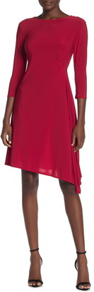 Tash + Sophie 3/4 Sleeve Asymmetrical Drape Dress
