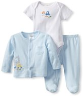 Absorba Baby-Boys Newborn Three Piece Bodysuit And Footed Pant Set With Knit Top