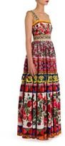 Dolce & Gabbana Sleeveless Apron Embroidered Tiered Gown