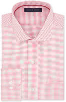Tommy Hilfiger Men's Classic/Regular Big and Tall Fit Non-Iron Red Mini-Check Cotton Dress Shirt