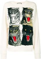 Gucci Tiger Face oversized sweatshirt - women - Cotton - M