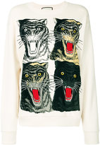 Gucci Tiger Face oversized sweatshirt - women - Cotton - S