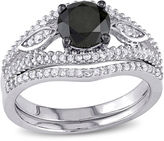 MODERN BRIDE Midnight Black Diamond 1? CT. T.W. White and Color-Enhanced Diamond Bridal Ring Set