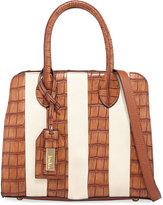 Neiman Marcus Sabrina Crocodile-Embossed Satchel Bag, Brown/White