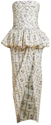 KHAITE Gwen Strapless Peplum Wrap Gown