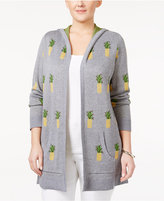 Belldini Plus Size Pineapple-Print Cardigan
