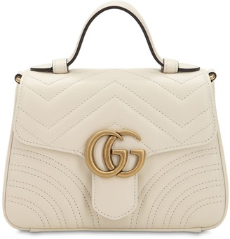 Gucci MINI GG MARMONT LEATHER TOP HANDLE BAG