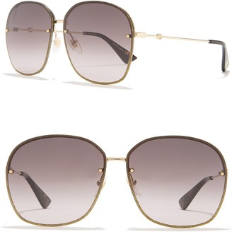 Gucci 63mm Oversized Rounded Square Metal Frame Sunglasses