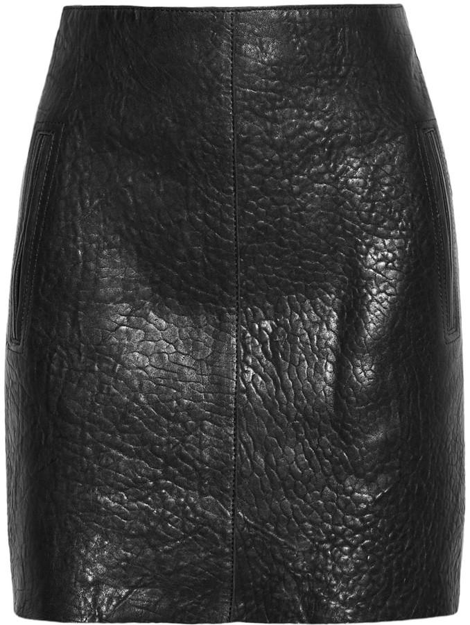Carven Textured-leather mini skirt