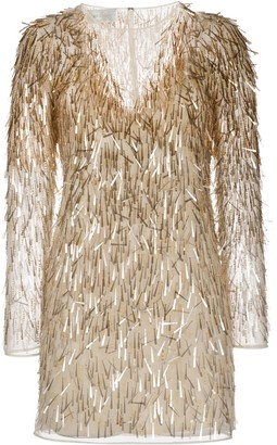 Alberta Ferretti V-neck sequin-embellished dress