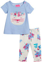 Joules Winn Embroidered Cat T-Shirt w/ Floral Leggings, Size 3-24 Months