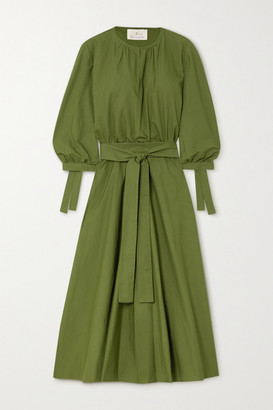 ARoss Girl x Soler Amanda Belted Cotton-poplin Midi Dress - Army green