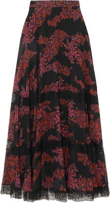 Giambattista Valli Lace-trimmed Floral-print Silk-georgette Maxi Skirt